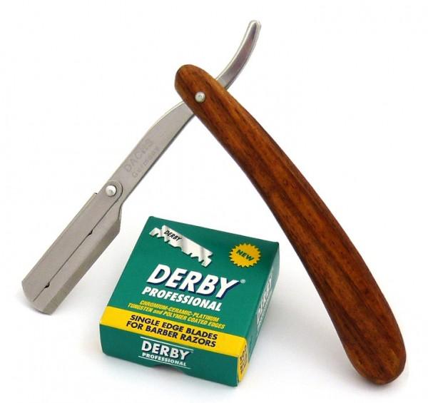 Rasurset im Landhausstil: Wechselklingenmesser Rasiermesser mit 100 Rasierklingen
